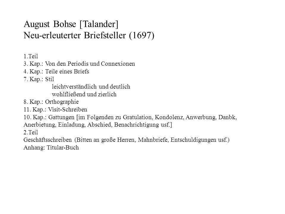 August Bohse [Talander] Neu-erleuterter Briefsteller (1697)